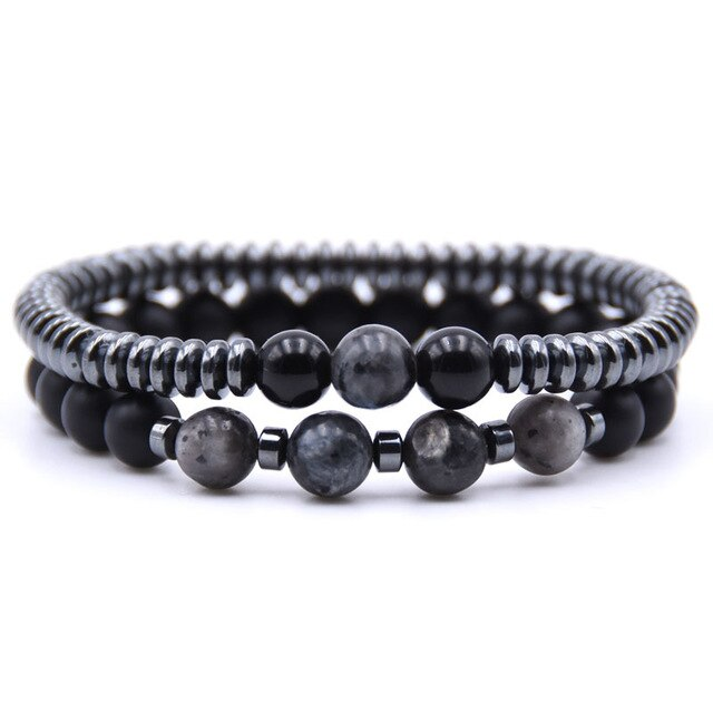 Healing Dark Energy Bracelets (2 piece set) Black flash - Cradle Of Goth