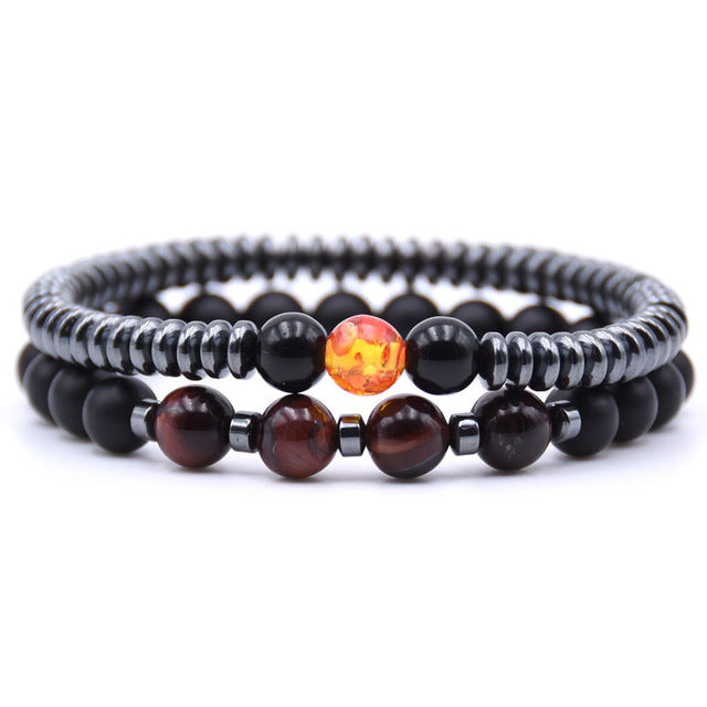 Healing Dark Energy Bracelets (2 piece set) Red tiger eye - Cradle Of Goth