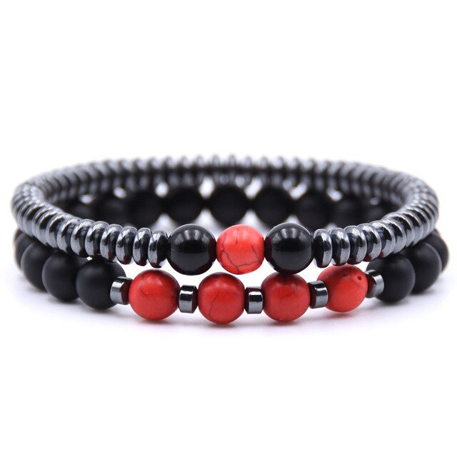 Healing Dark Energy Bracelets (2 piece set) Red pine - Cradle Of Goth