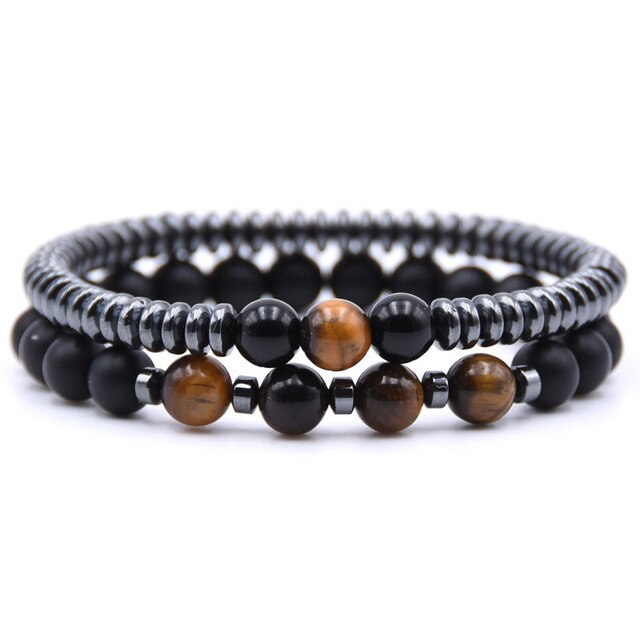 Healing Dark Energy Bracelets (2 piece set) Tiger eye - Cradle Of Goth