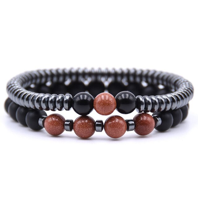 Healing Dark Energy Bracelets (2 piece set) Sandstone - Cradle Of Goth