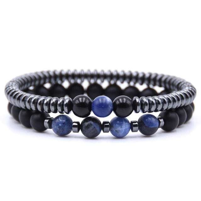 Healing Dark Energy Bracelets (2 piece set) Old blue - Cradle Of Goth