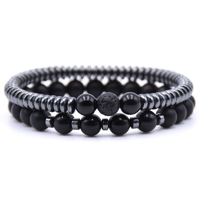 Healing Dark Energy Bracelets (2 piece set) Bright black - Cradle Of Goth