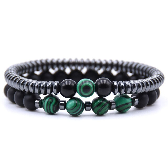 Healing Dark Energy Bracelets (2 piece set) Green malachite - Cradle Of Goth