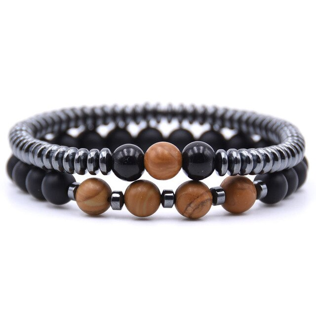 Healing Dark Energy Bracelets (2 piece set) Wood grain - Cradle Of Goth