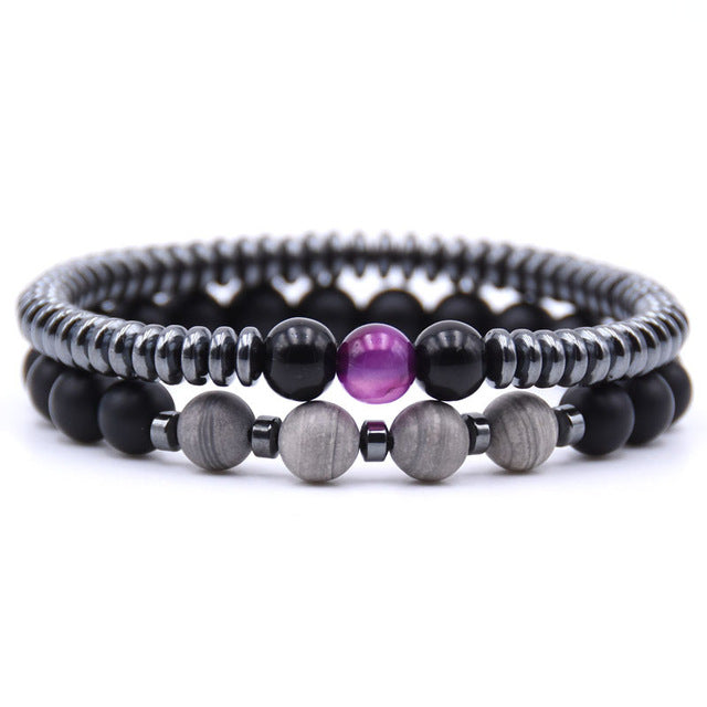 Healing Dark Energy Bracelets (2 piece set) Silver line stone - Cradle Of Goth