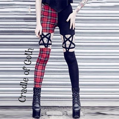 Black and Red Pentagram Pants  - Cradle Of Goth