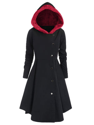 Red Hooded Goth Coat (Spring/Fall Season) Plus Size  - Cradle Of Goth