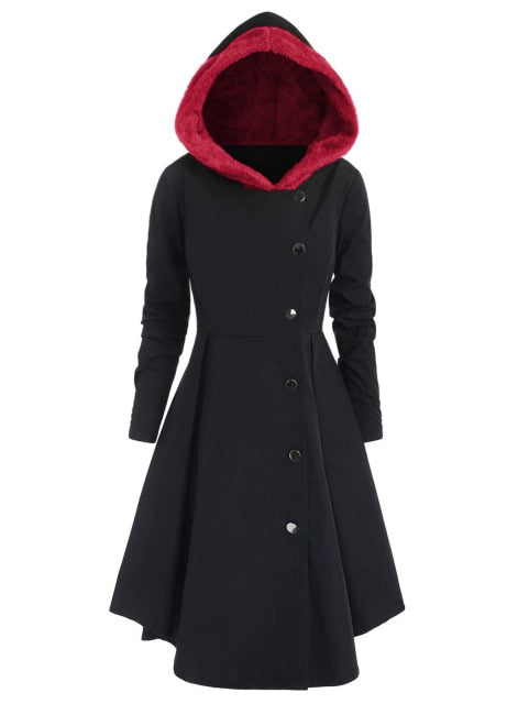Red Hooded Goth Coat (Spring/Fall Season) Plus Size Red / L - Cradle Of Goth
