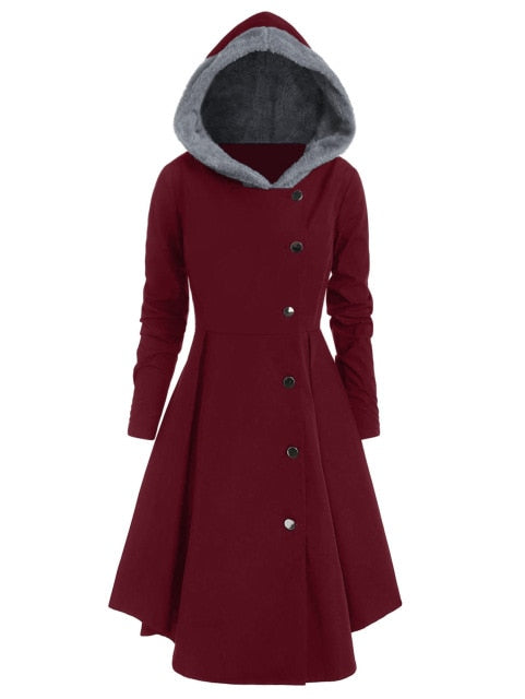 Red Hooded Goth Coat (Spring/Fall Season) Plus Size Red Wine / L - Cradle Of Goth