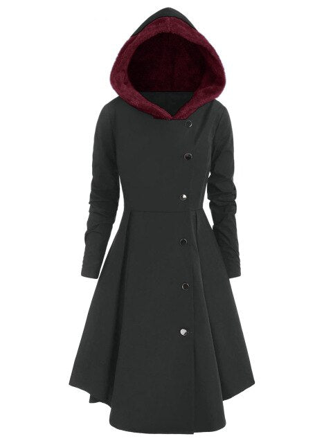 Red Hooded Goth Coat (Spring/Fall Season) Plus Size Carbon Gray / L - Cradle Of Goth