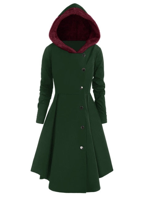 Red Hooded Goth Coat (Spring/Fall Season) Plus Size Dark Green / L - Cradle Of Goth