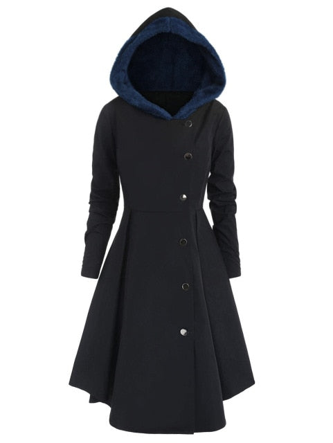 Red Hooded Goth Coat (Spring/Fall Season) Plus Size Midnight Blue / L - Cradle Of Goth