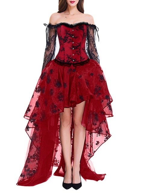 Goddess of Lace Dress (plus sizes available) all red / S - Cradle Of Goth