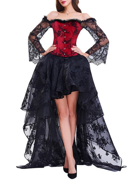 Goddess of Lace Dress (plus sizes available) red top black skirt / S - Cradle Of Goth