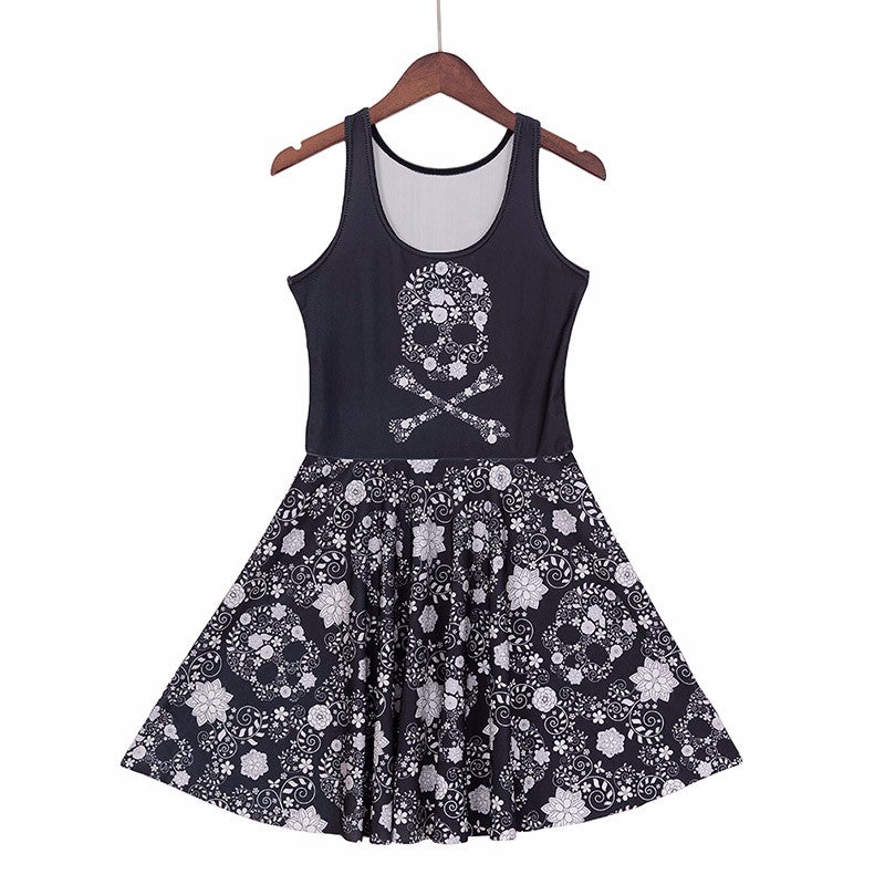 Skull and bones Dress (Plus sizes available)  - Cradle Of Goth