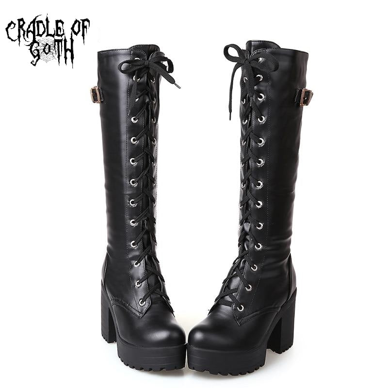 Knee High Goth Boots (Vegan Leather)  - Cradle Of Goth