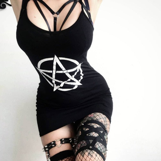 Pentagram Mini Dress Dress 1 / L - Cradle Of Goth