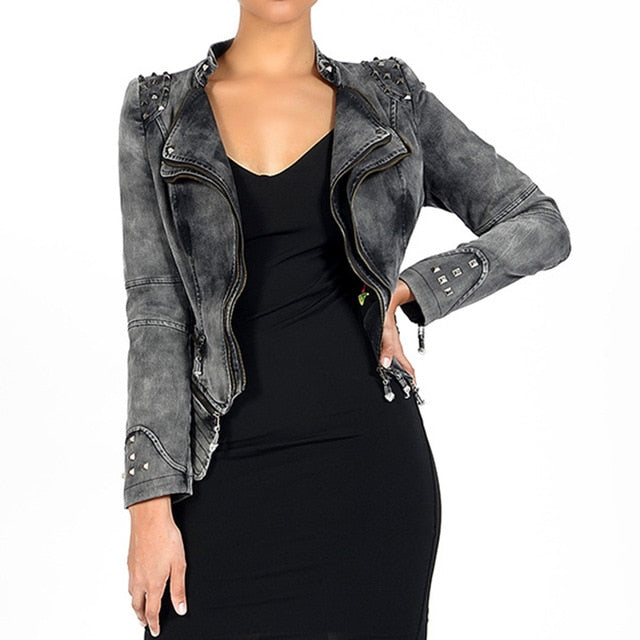 The Tough Chick Jacket (Vegan) Gray / S - Cradle Of Goth