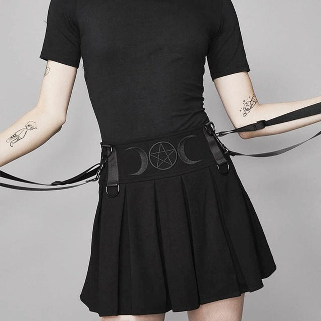 Pleated Witch Skirt Black / S - Cradle Of Goth
