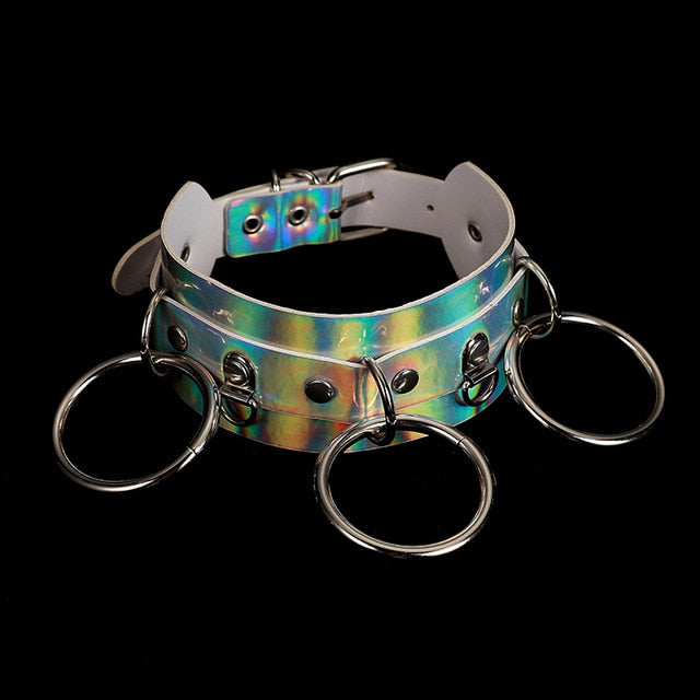 Holographic Choker and Leash white 5 - Cradle Of Goth