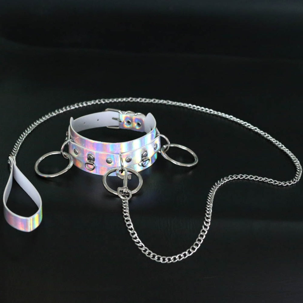 Holographic Choker and Leash  - Cradle Of Goth