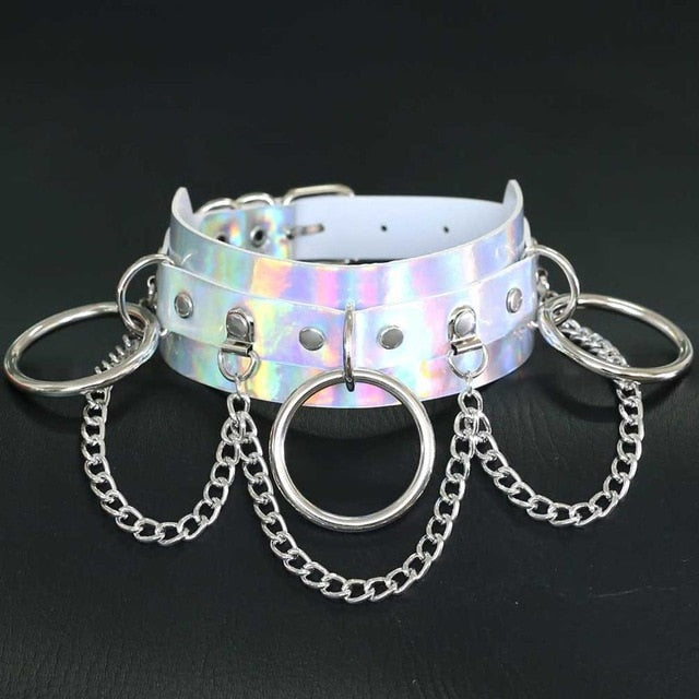 Holographic Choker and Leash white 4 - Cradle Of Goth
