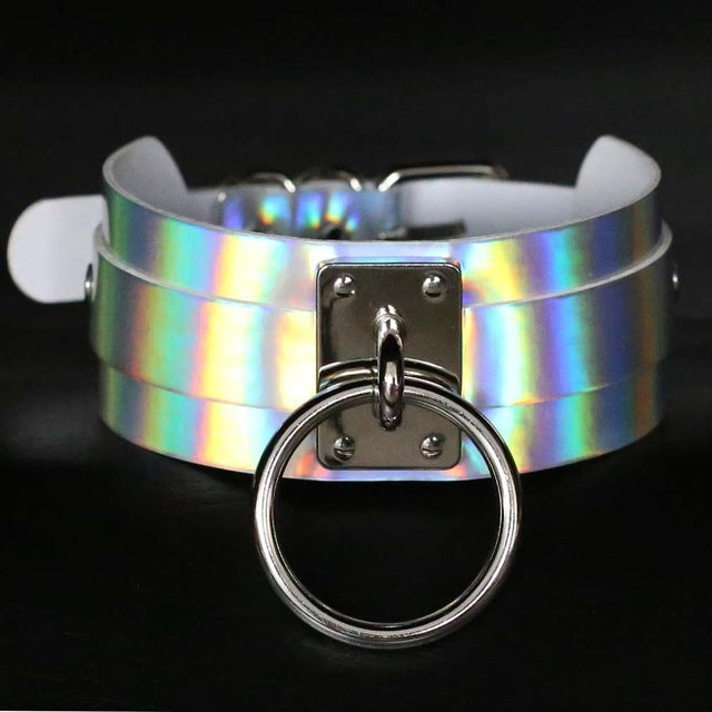 Holographic Choker and Leash white 2 - Cradle Of Goth