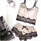 Satin Set beige / L - Cradle Of Goth