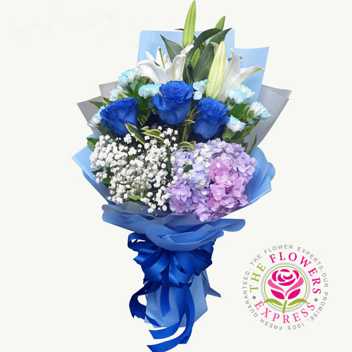 Cool Blue Flower Bouquet