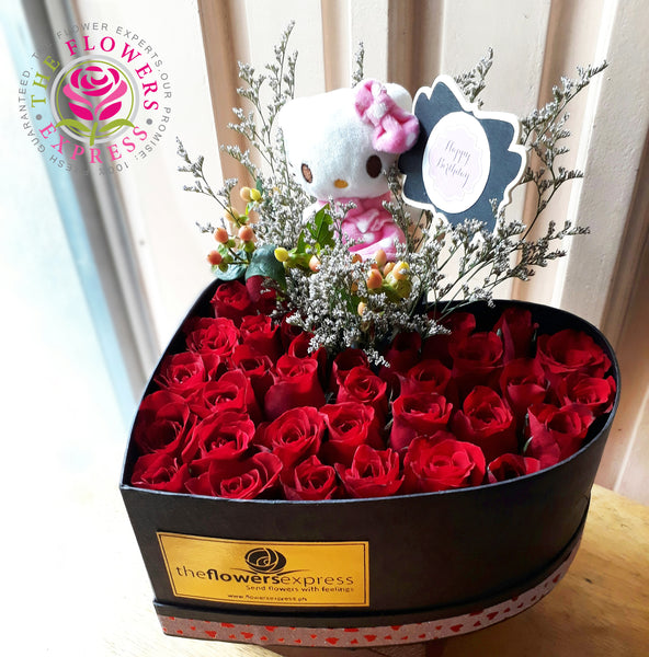 Heart Bloom Box with Hello Kitty