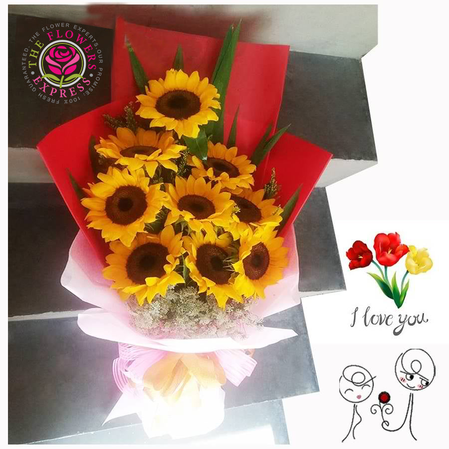 S09 Sunflower Bouquet in Red Wrap