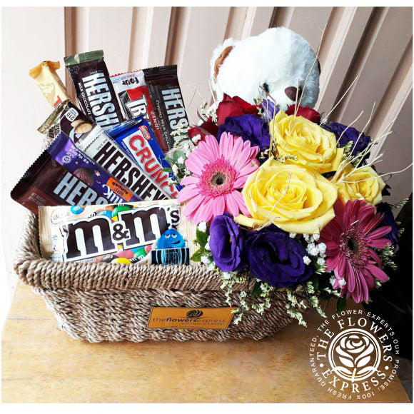 Chocolate basket with flowers