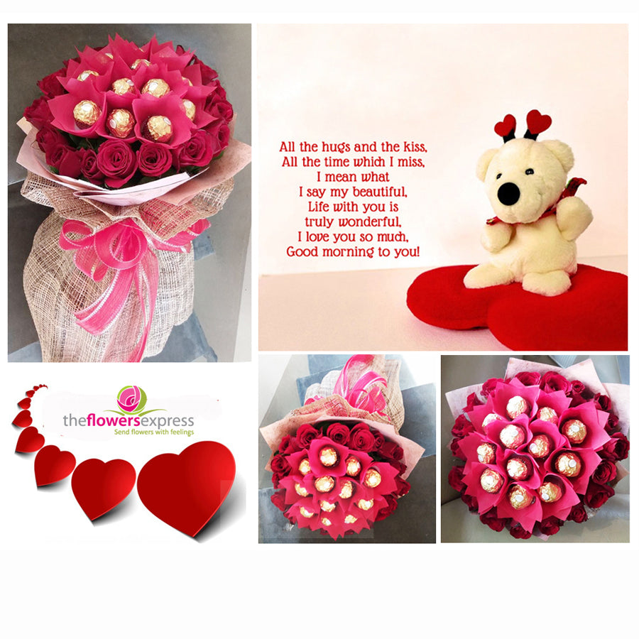 1 Dozen Ferrero with Red Roses