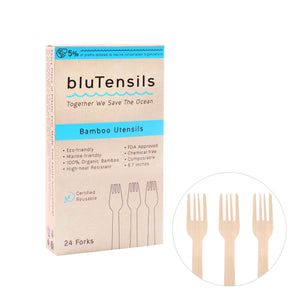Bamboo Utensils - Forks, 100 boxes / 2,400 pieces (Wholesale)