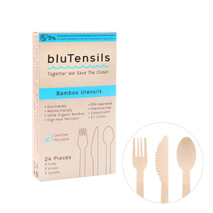 Bamboo Utensils - Mixed (Forks, Knives, Spoons), 100 boxes / 2,400 pieces (Wholesale)