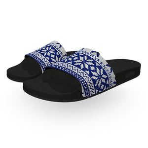 Norwegian Blue and White Christmas Sweater Slides