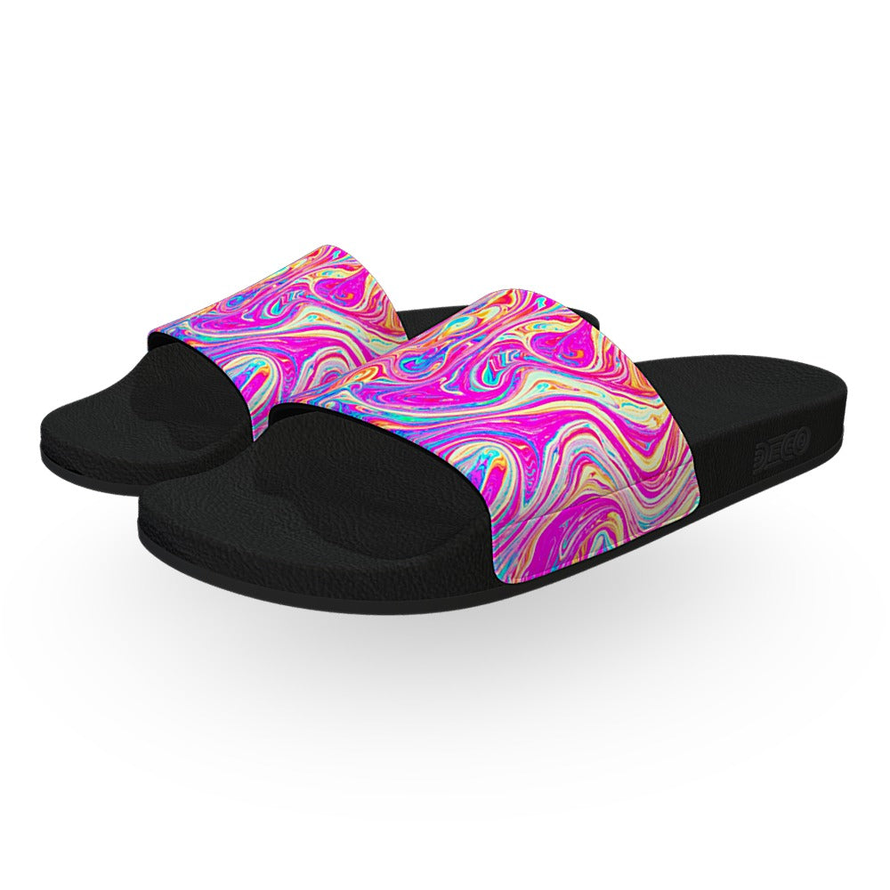 Pink Yellow and Purple Soap Bubble Slide Sandals