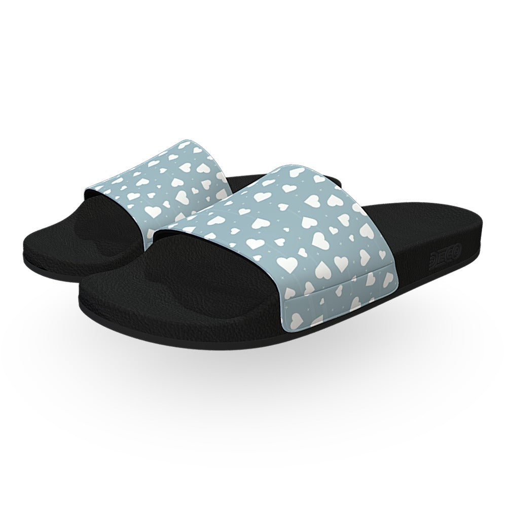 Gray and White Hearts Slide Sandals