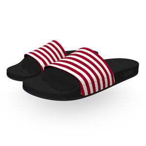 Red and White Cabana Striped Slide Sandals
