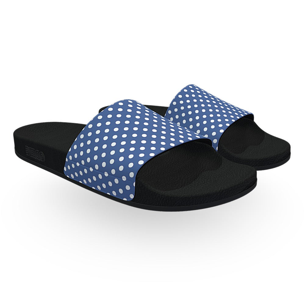 Blue and White Polka Dots Slide Sandals