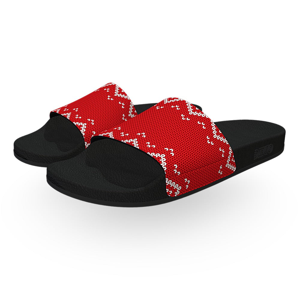 Customizable Red Christmas Sweater Slides