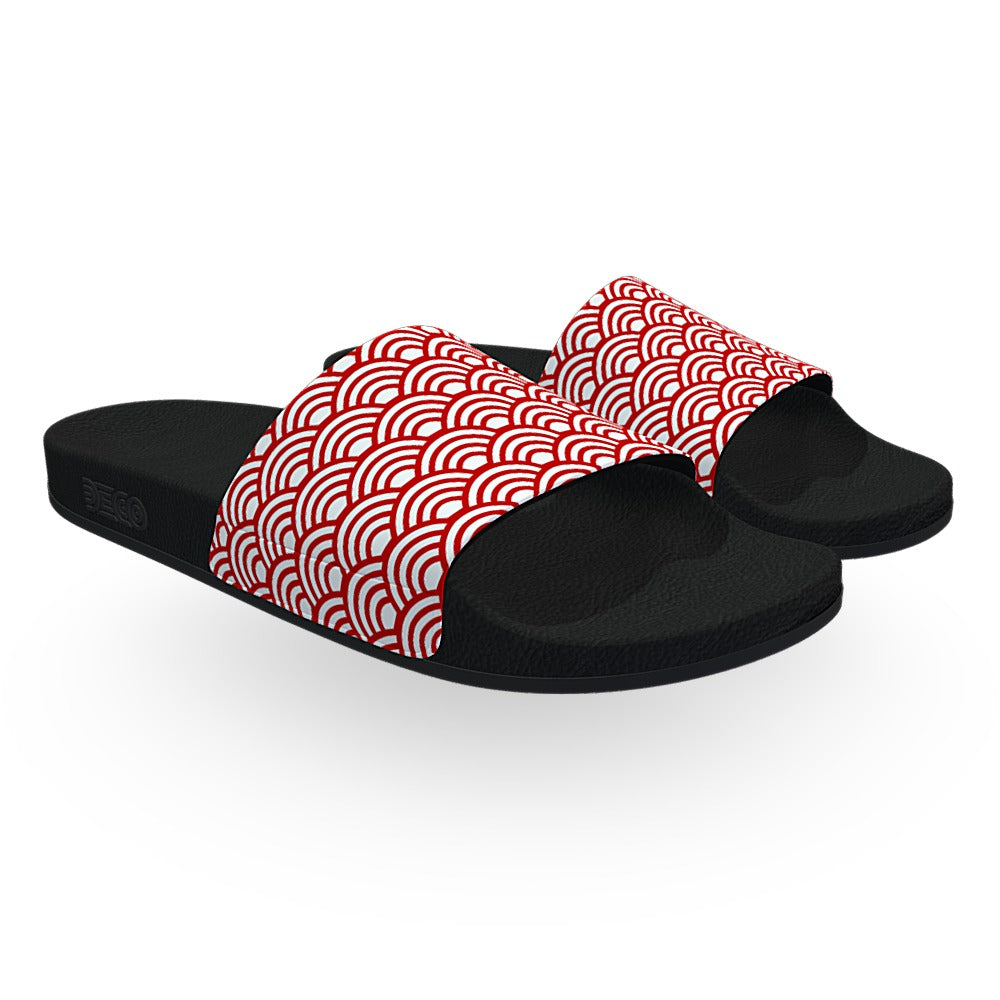 Red and White Wave Pattern Slide Sandals