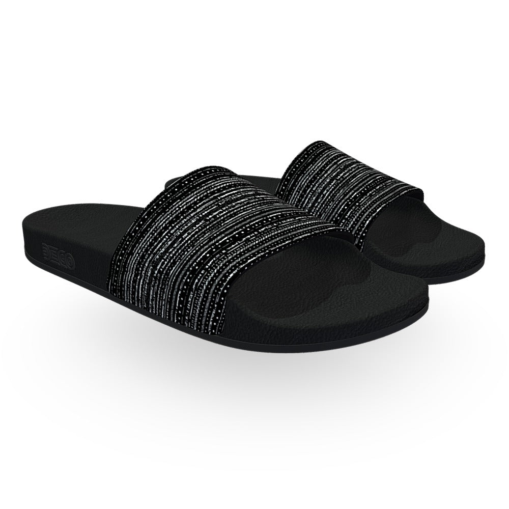 Black and White Horizontal Static Slide Sandals