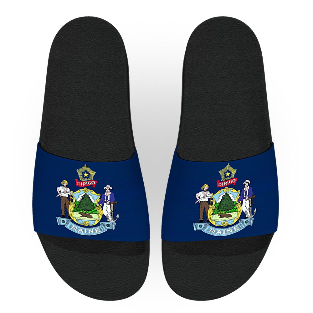 Maine State Flag Slide Sandals