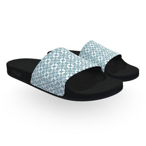 White and Blue Arabic Pattern Slide Sandals