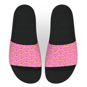 Pink and Yellow Wave Pattern Slide Sandals
