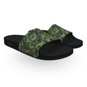 Dark Green Camouflage Pattern Slide Sandals