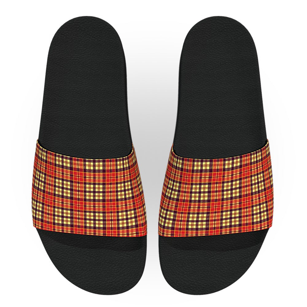 Red and Yellow Tartan Flannel Slide Sandals