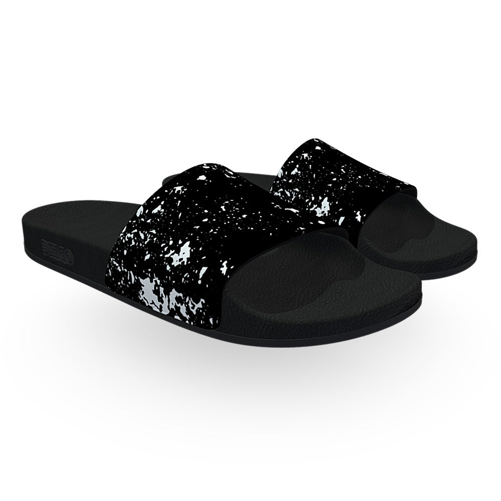 Black and White Splatter Slide Sandals